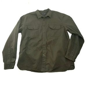 J Crew Mercantile Olive Button-up Utility Shirt